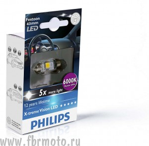 Лампа Philips C5W LED6000K Fest T10,5 12V 1W